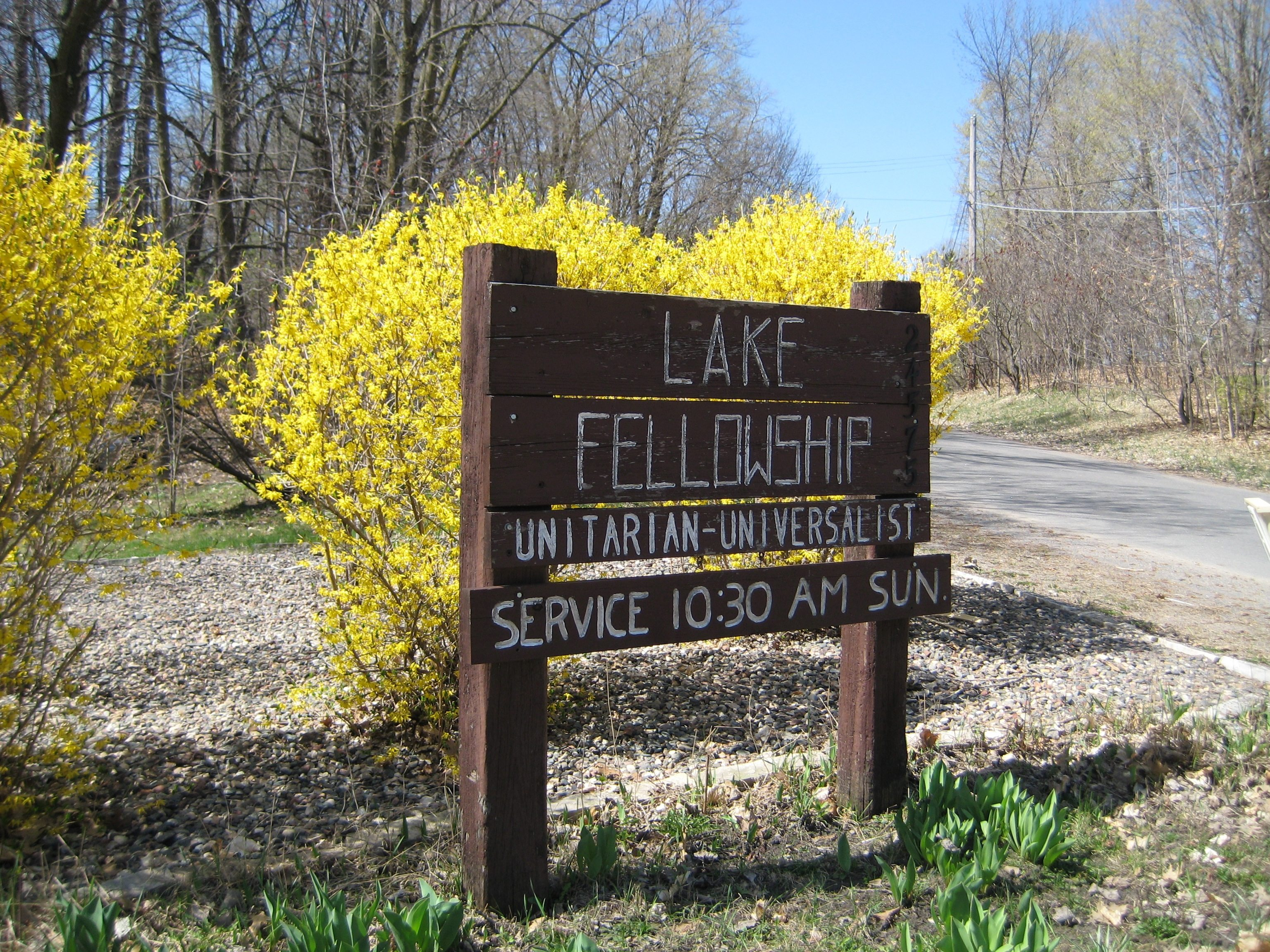 Old lake fellowship sign